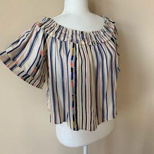 ASTR the label stripe off shoulder blouse 869